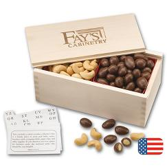 Chocolate Almonds and Cashew Filled Wooden Collectors Box