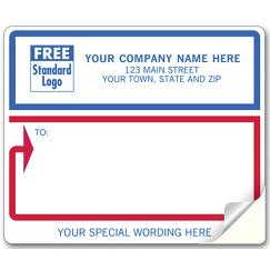 Mailing Labels, Laser and Inkjet, White with Blue/Red Border