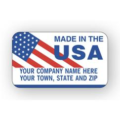 Made In The Usa Flag Labels, Red/White/Blue