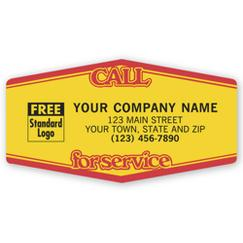 Call For Service, Tuff Shield Labels, Yellow with Red