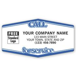 Call For Service Tuff Shield Labels, White with Blue