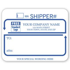 Jumbo Shipping Labels with Ups #, Padded, White with Blue