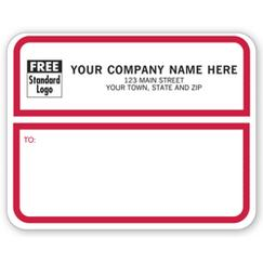 Jumbo Shipping Labels, Padded, White w/ Red Border