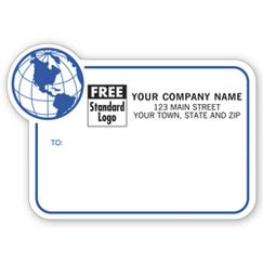 Mailing Labels w/ Globe Design, Padded, Blue Border