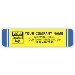 Advertising Labels, Yellow with Blue Stripes