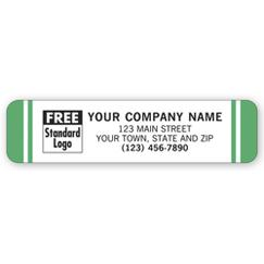 Advertising Labels, White with Green Stripes