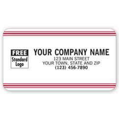Advertising Labels, White with Red Stripe