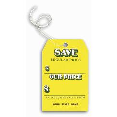 Save Tags, Stock, Yellow, Small