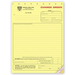Change Order Form - Contractors - Yellow Carbonless