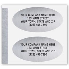 Advertising Labels, Padded, Paper, Silver Foil, Oval