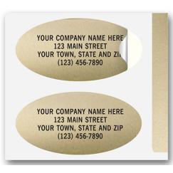 Advertising Labels, Padded, Paper, Gold Foil, Oval