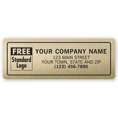 Advertising Labels, Padded, Poly Film, Gold