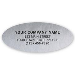 Advertising Labels, Padded, Poly Film, Silver, Oval