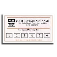 Frequent Diner Card, Harvest