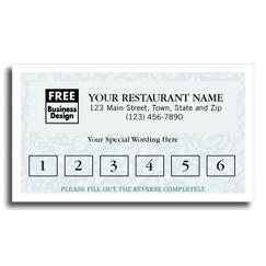 Frequent Diner Card, Vineyard