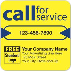 Call for Service Label on Yellow High Gloss 3x3, 58166