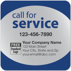 Call for Service Label on Silver Poly Top & Bottom Navy Trim, 58167