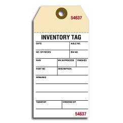 Inventory Tags w/ Adhesive Strips, Manila, Small