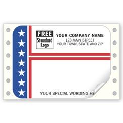 Patriotic Mailing Labels, Continuous, Stripes and Stars