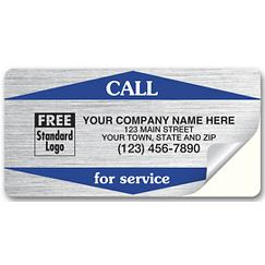 Call For Service Weather-Resistant Labels, Silver, CFSWR2