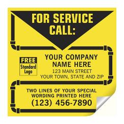 Contractor Service Labels, with Pipe Border, Vinyl, CL14