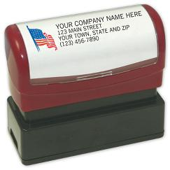 Name and Address with American Flag - Pre-Inked