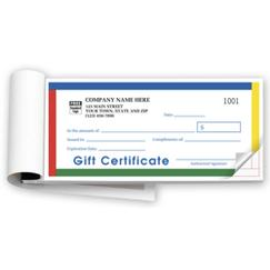 Gift Certificates,  Booked,  Carbonless, Primary Color