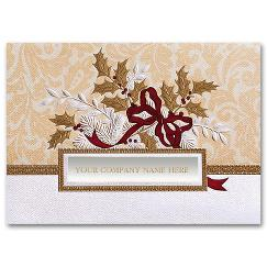 Business Holiday Cards - Golden Holly