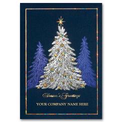 Illuminated Evergreen Business Christmas Card