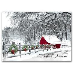 Cozy In The Country Discount Christmas Card
