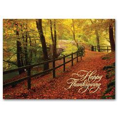Thanksgiving Card - Leaf-Strewn Lane