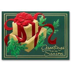 Golden Evergreen Holiday Card
