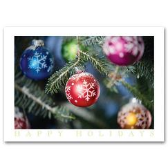 Discount Christmas Cards - Colorful Ornaments