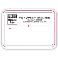 Mailing Labels, Rolls, White w/ Black/Red Border