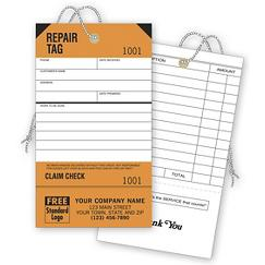 Repair Tags, Service, Orange, Detachable Claim Check, TAG04