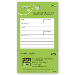 Repair Tag in Green w/White Fill-In Space, TAG05
